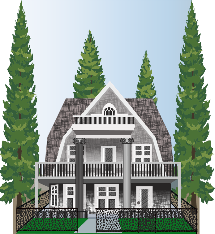 Illustration of Craftsman style house, front view, done in Adobe Illustrator by Penelope Gibbs for advertising purposes
